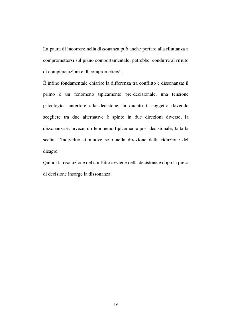 Anteprima della tesi: Dissonanza cognitiva: l'evoluzione della teoria e le possibili applicazioni, Pagina 15
