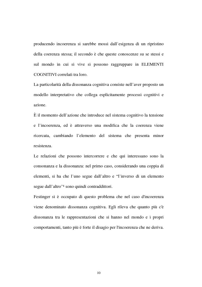 Anteprima della tesi: Dissonanza cognitiva: l'evoluzione della teoria e le possibili applicazioni, Pagina 6