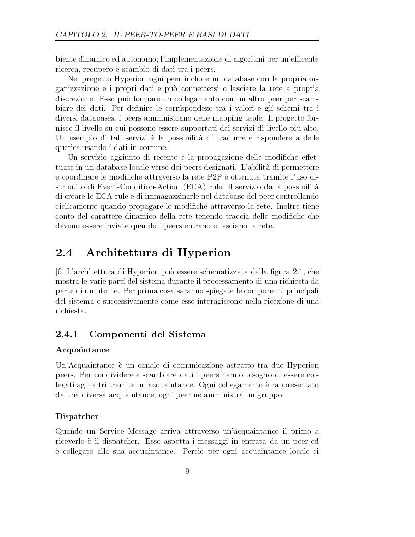Anteprima della tesi: Aggiornamento dei dati in una rete peer-to-peer di database: il progetto Hyperion, Pagina 5