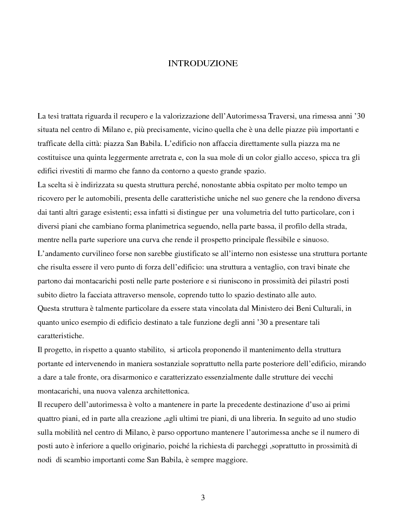 Anteprima della tesi: Recupero e valorizzazione dell'ex autorimessa Traversi sita a Milano, Pagina 1