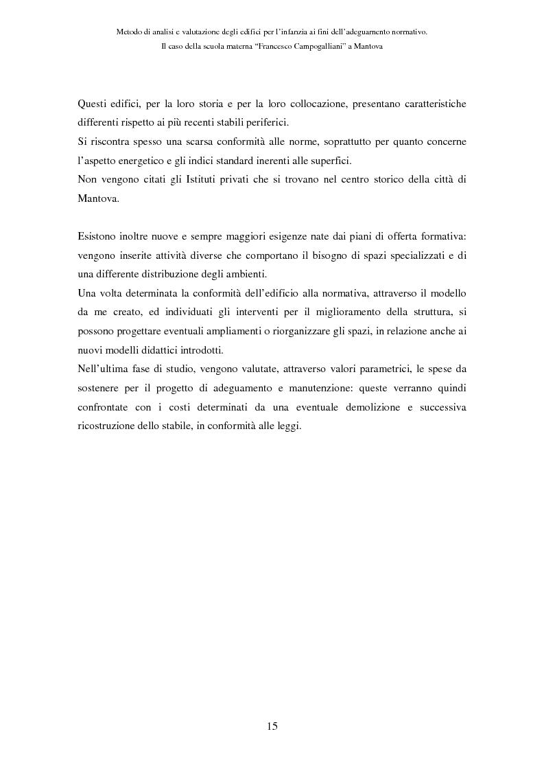 Anteprima della tesi: Metodo di analisi e valutazione degli edifici per l'infanzia ai fini dell'adeguamento normativo. Il caso della scuola materna ''F. Campogalliani'' a Mantova, Pagina 10