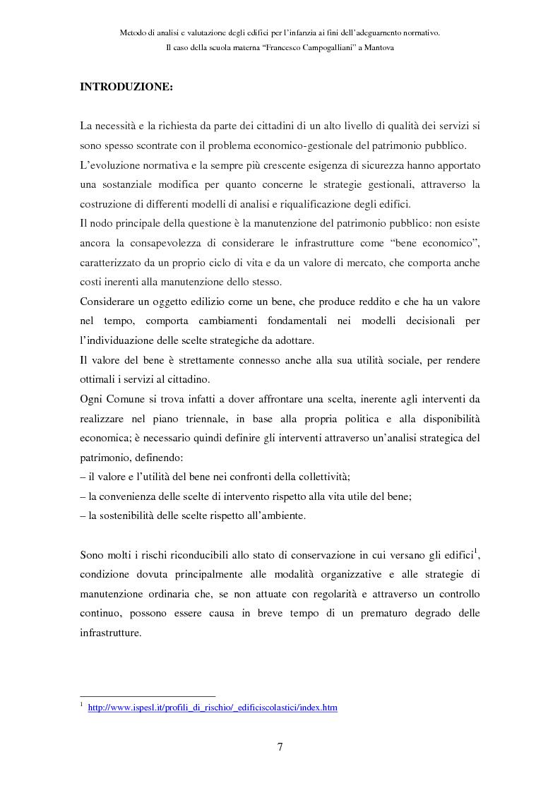 Anteprima della tesi: Metodo di analisi e valutazione degli edifici per l'infanzia ai fini dell'adeguamento normativo. Il caso della scuola materna ''F. Campogalliani'' a Mantova, Pagina 2