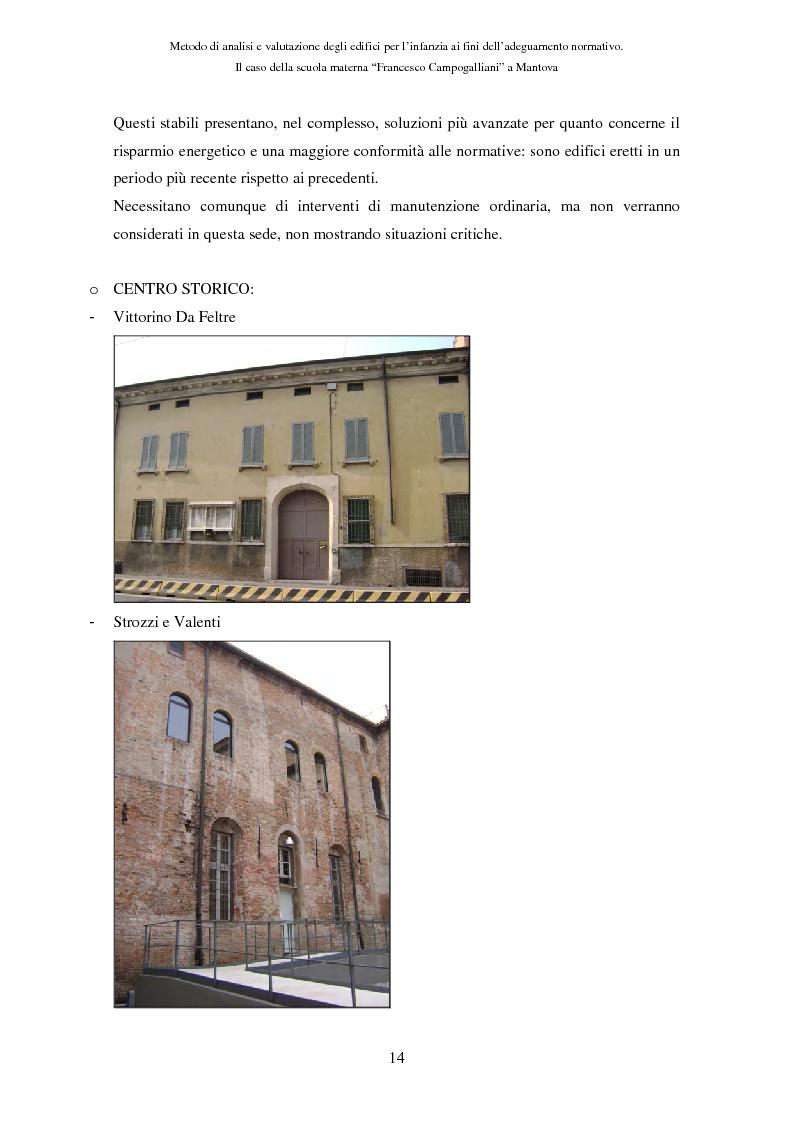 Anteprima della tesi: Metodo di analisi e valutazione degli edifici per l'infanzia ai fini dell'adeguamento normativo. Il caso della scuola materna ''F. Campogalliani'' a Mantova, Pagina 9