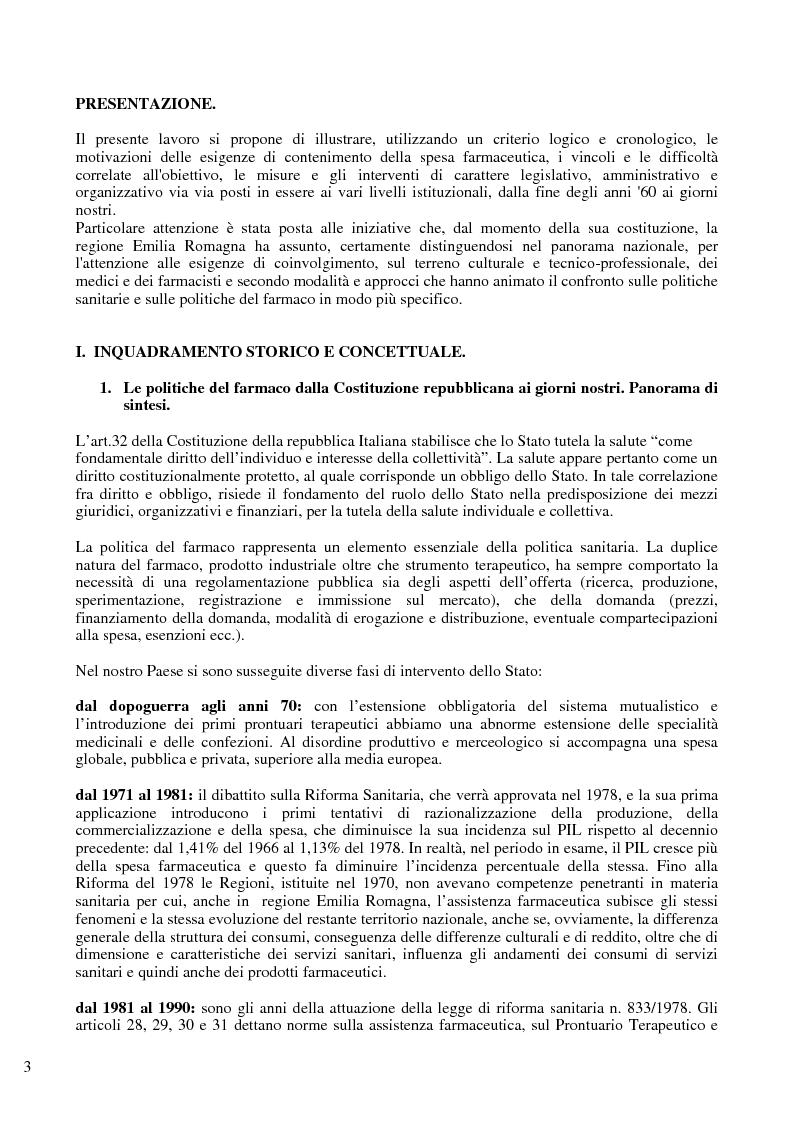 Anteprima della tesi: Il problema del controllo e del contenimento dei consumi e della spesa farmaceutica nel Sistema Sanitario Nazionale, con particolare riferimento alle iniziative della regione Emilia Romagna, Pagina 1