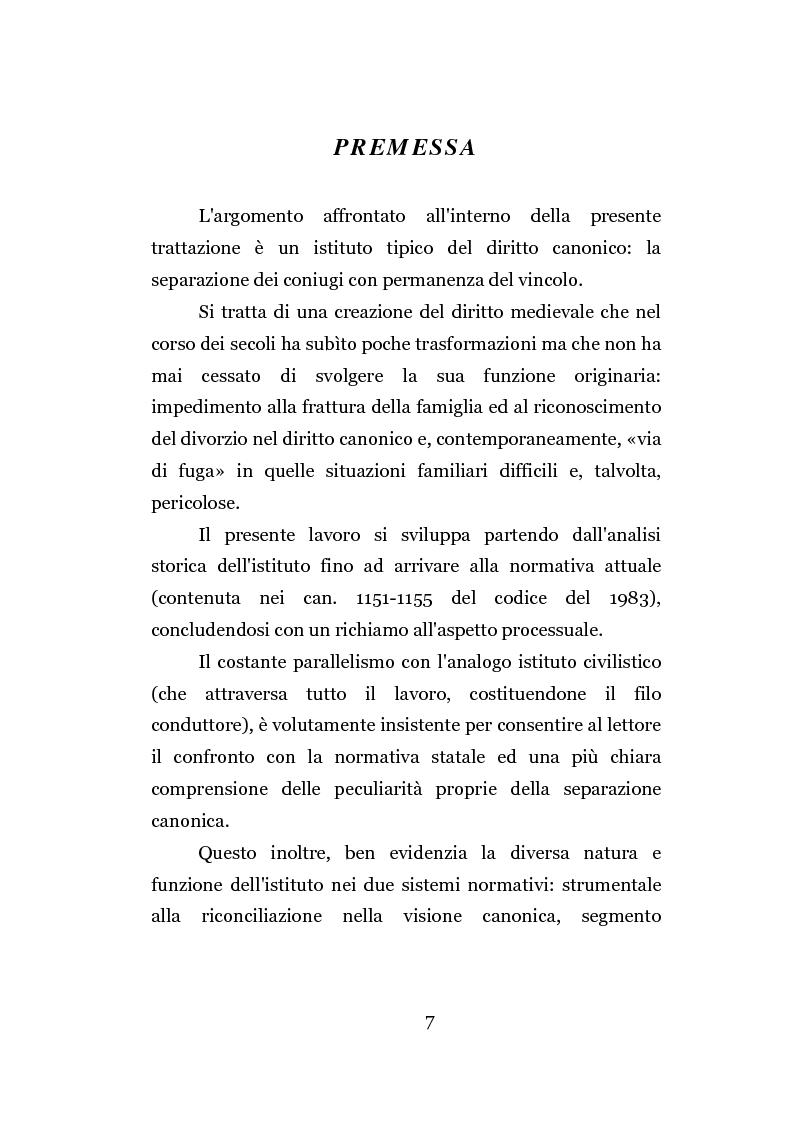 Anteprima della tesi: La separazione dei coniugi manente vinculo, Pagina 1