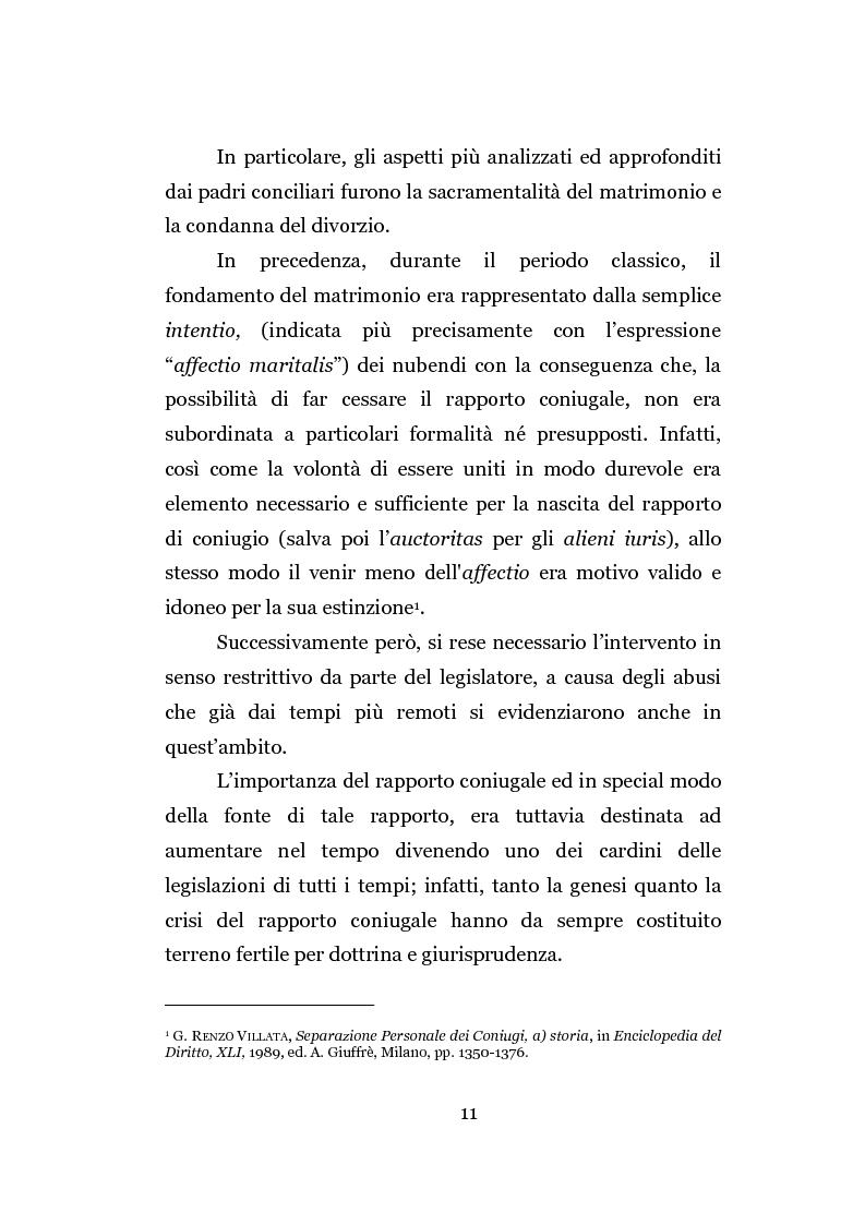 Anteprima della tesi: La separazione dei coniugi manente vinculo, Pagina 5