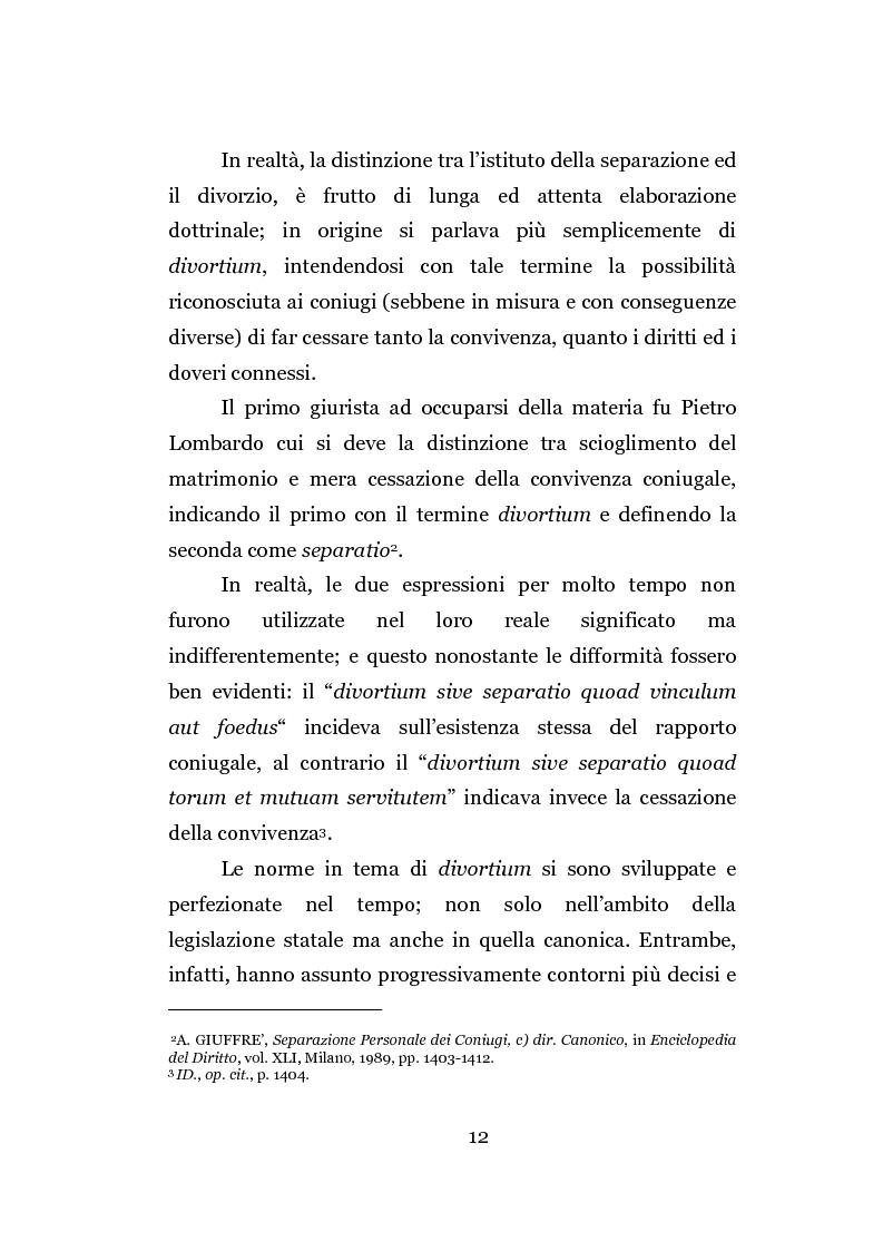 Anteprima della tesi: La separazione dei coniugi manente vinculo, Pagina 6