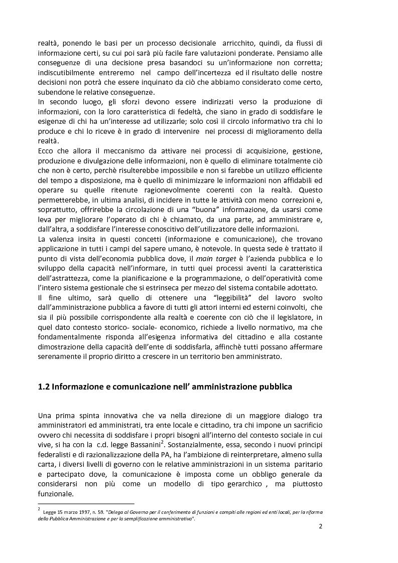 Anteprima della tesi: La capacità informativa del sistema contabile degli enti locali. Il caso del comune di Quartu Sant'Elena., Pagina 3