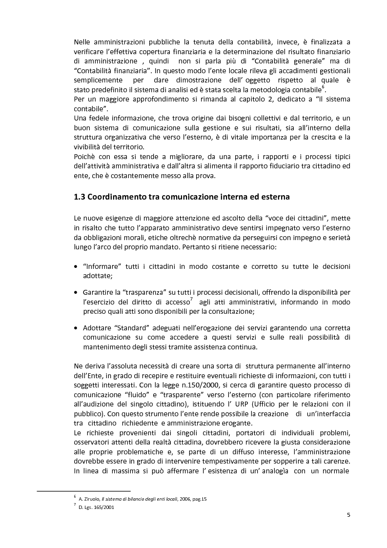 Anteprima della tesi: La capacità informativa del sistema contabile degli enti locali. Il caso del comune di Quartu Sant'Elena., Pagina 6
