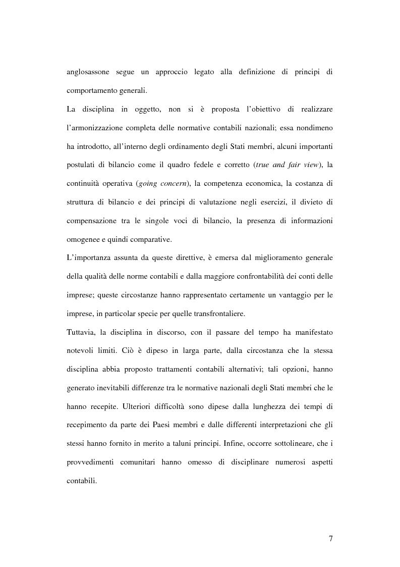 Anteprima della tesi: Profili innovativi e problematiche giuridiche inerenti ai principi contabili internazionali. Il caso degli strumenti finanziari., Pagina 7