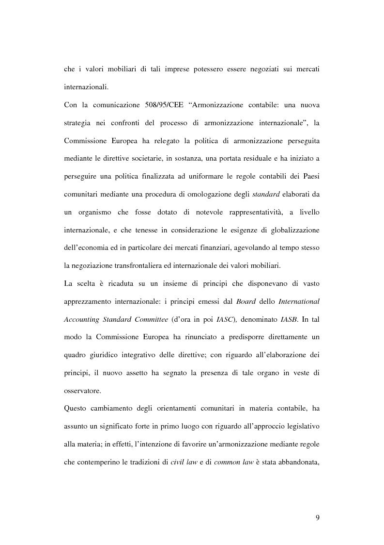 Anteprima della tesi: Profili innovativi e problematiche giuridiche inerenti ai principi contabili internazionali. Il caso degli strumenti finanziari., Pagina 9