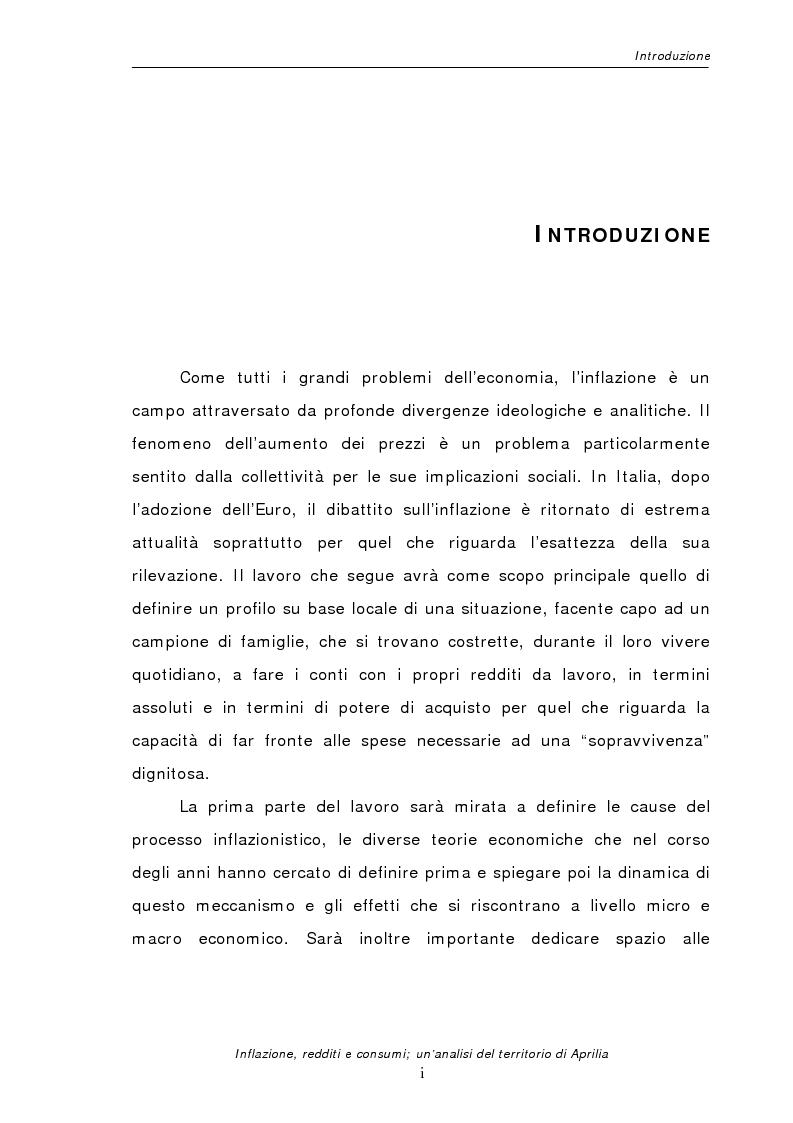 Anteprima della tesi: Inflazione redditi e consumi; un'analisi sul territorio di Aprilia, Pagina 1