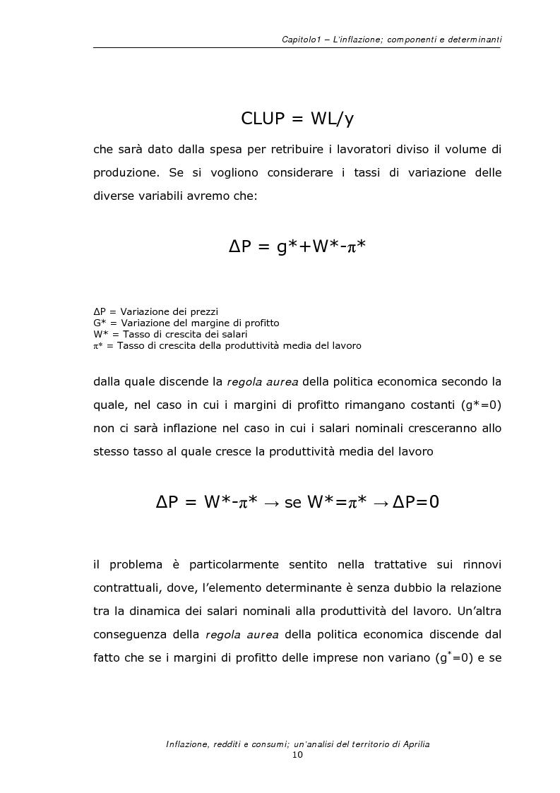 Anteprima della tesi: Inflazione redditi e consumi; un'analisi sul territorio di Aprilia, Pagina 13