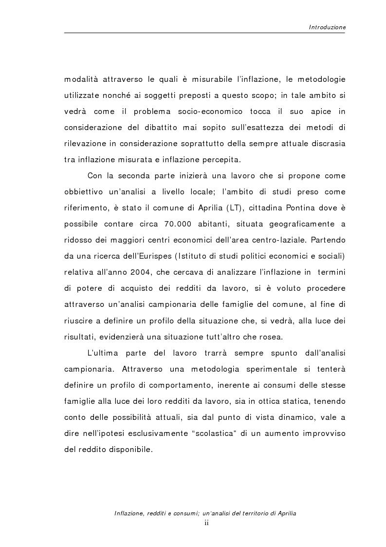 Anteprima della tesi: Inflazione redditi e consumi; un'analisi sul territorio di Aprilia, Pagina 2