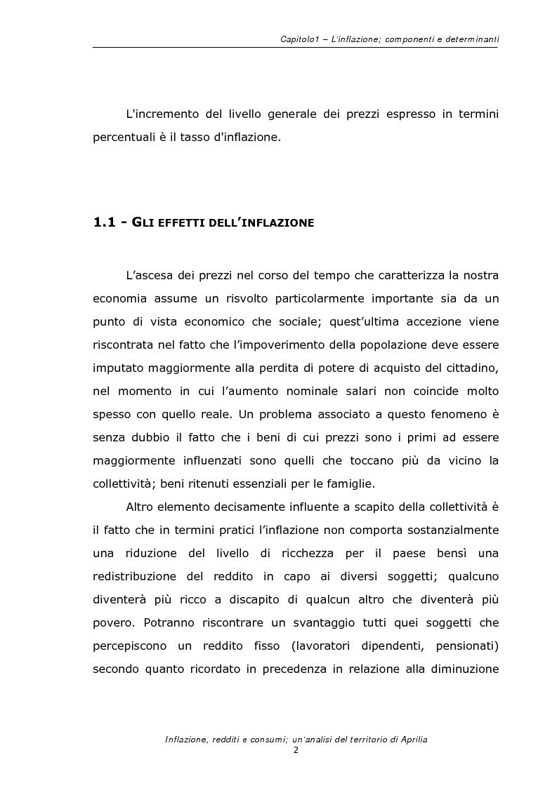Anteprima della tesi: Inflazione redditi e consumi; un'analisi sul territorio di Aprilia, Pagina 5