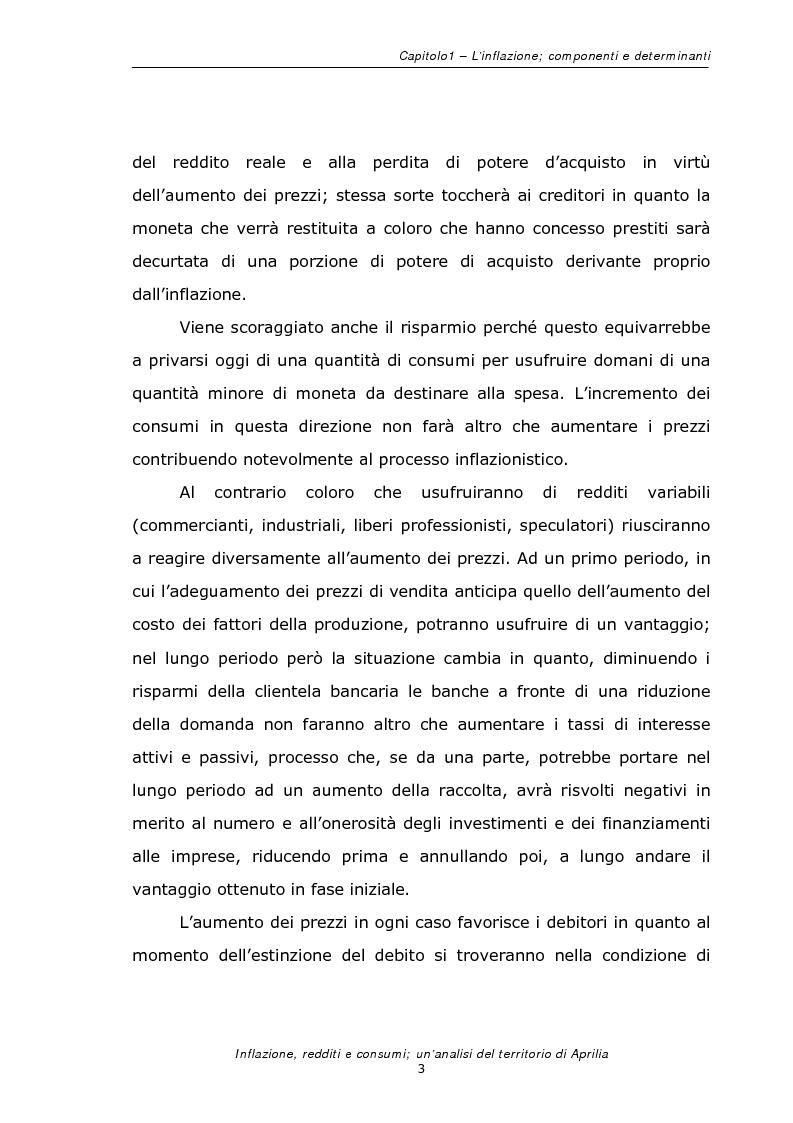 Anteprima della tesi: Inflazione redditi e consumi; un'analisi sul territorio di Aprilia, Pagina 6