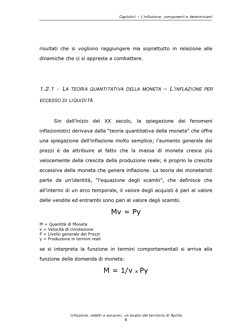 Anteprima della tesi: Inflazione redditi e consumi; un'analisi sul territorio di Aprilia, Pagina 9