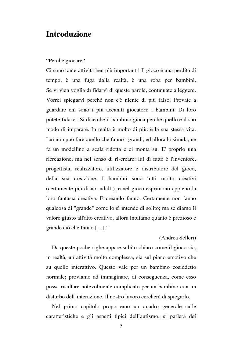 Anteprima della tesi: Autismo e gioco - Osservazione e terapia nei bambini con uso della comunicazione verbale, Pagina 1
