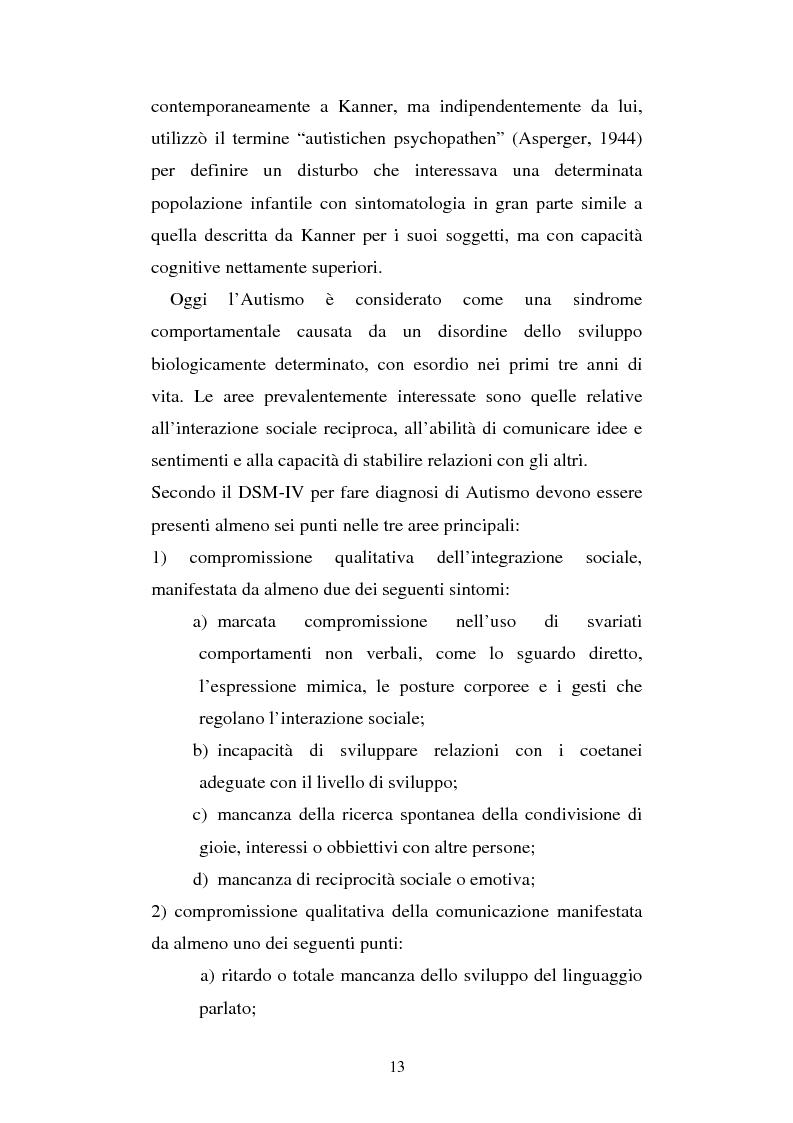 Anteprima della tesi: Autismo e gioco - Osservazione e terapia nei bambini con uso della comunicazione verbale, Pagina 9