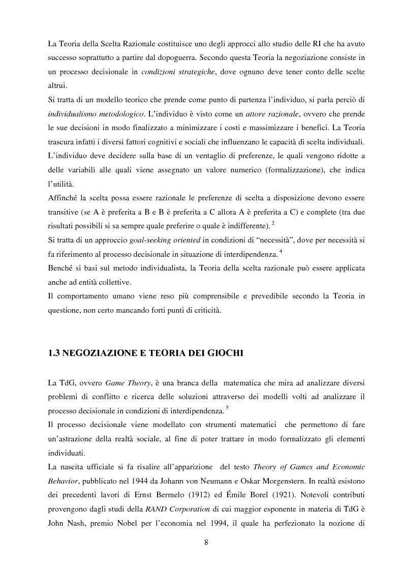Anteprima della tesi: La negoziazione preventiva - Approccio strategico e teoria dei giochi, Pagina 6