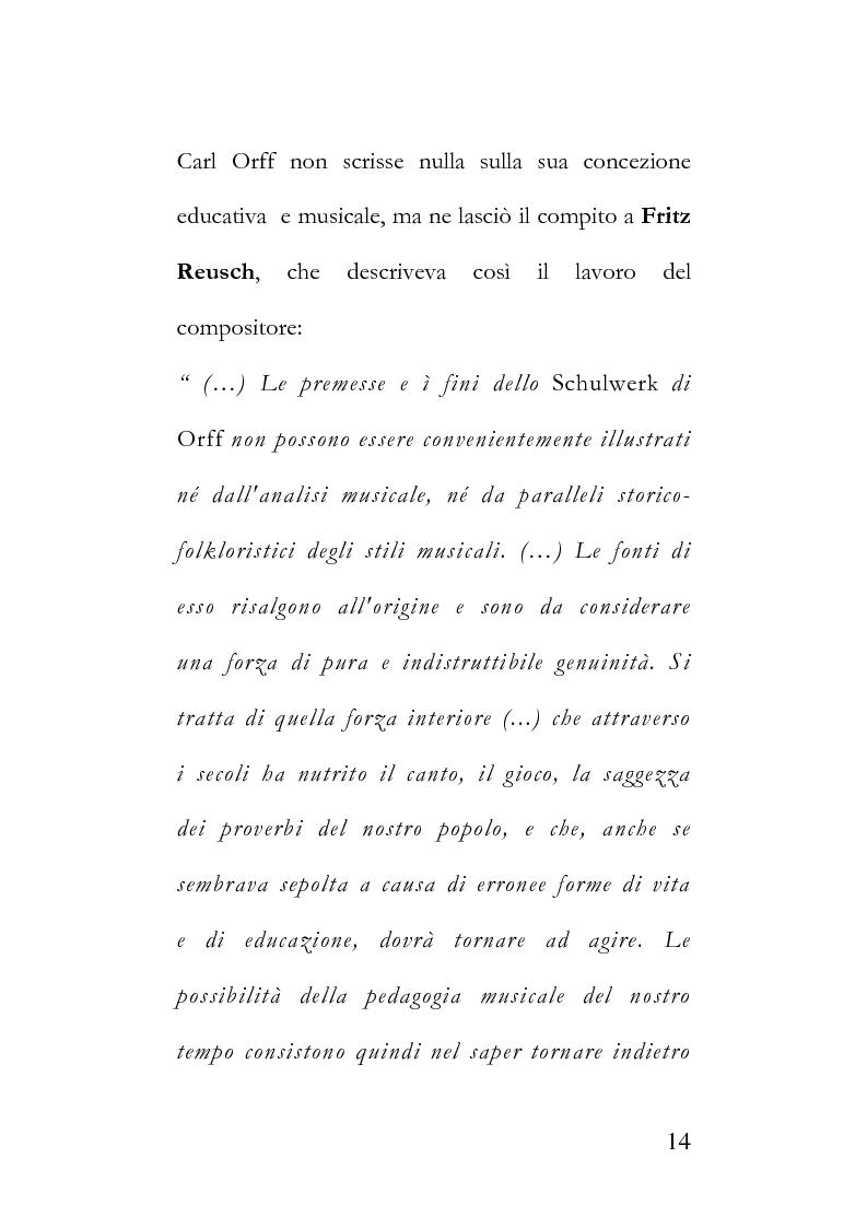 Anteprima della tesi: La metodologia Orff-Schulwerk e il ruolo formativo del linguaggio musicale nell'era del virtuale, secondo i parametri applicativi del [WGS]. Proposta di un approccio multisensoriale ed interattivo alla formazione., Pagina 10