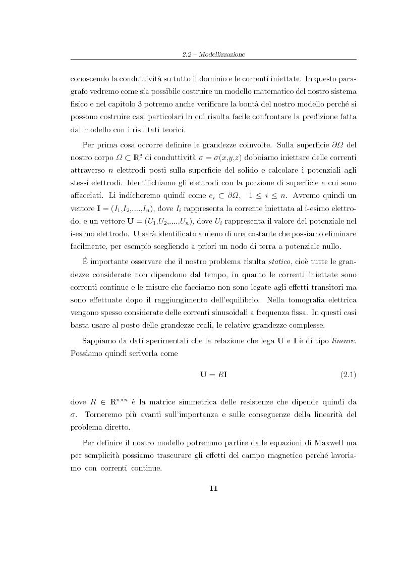 Anteprima della tesi: Analisi e risoluzione numerica di un problema inverso di conduttività elettrica, Pagina 7