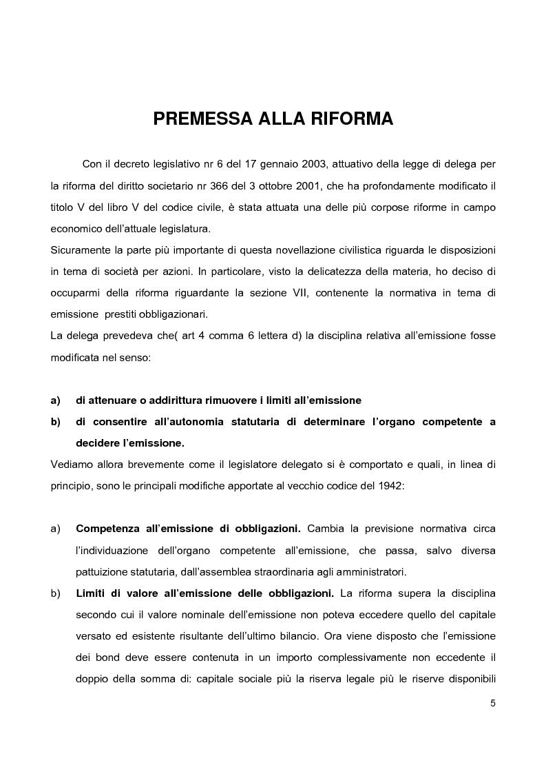 Anteprima della tesi: Prestiti obbligazionari prima e dopo la riforma del diritto commerciale, Pagina 1