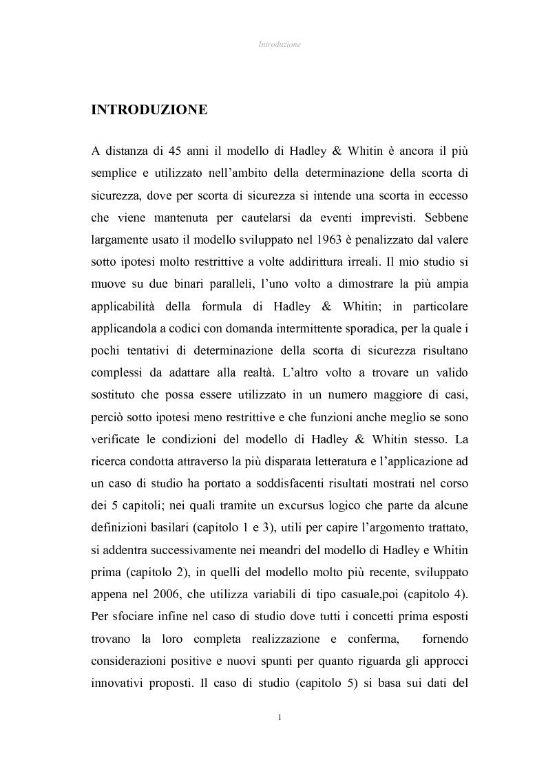 Anteprima della tesi: Verifica di applicabilità della formula di Hadley & Whitin per il dimensionamento della scorta di sicurezza al caso di codici con domanda sporadica ed analisi di un modello alternativo, Pagina 1