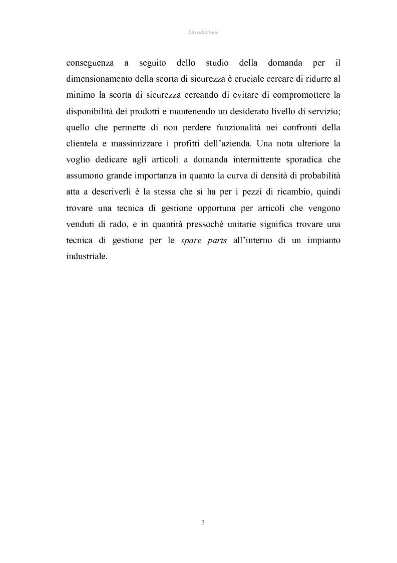 Anteprima della tesi: Verifica di applicabilità della formula di Hadley & Whitin per il dimensionamento della scorta di sicurezza al caso di codici con domanda sporadica ed analisi di un modello alternativo, Pagina 3