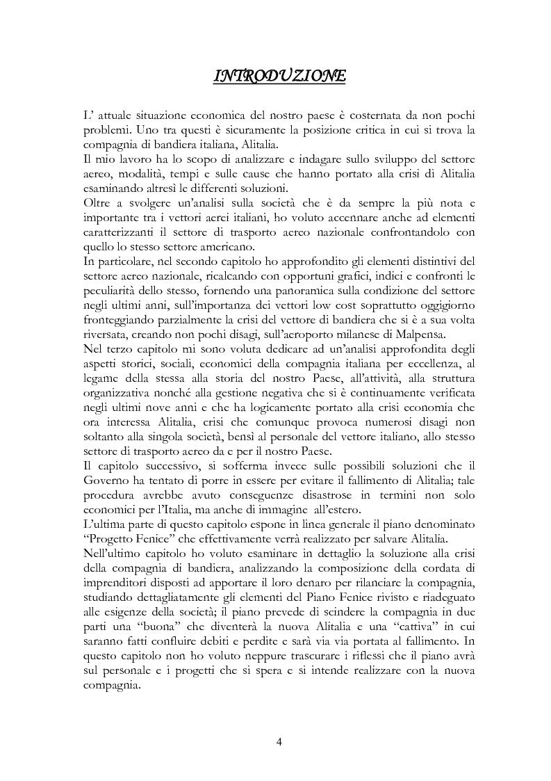 Anteprima della tesi: Alitalia nel trasporto aereo europeo, Pagina 1