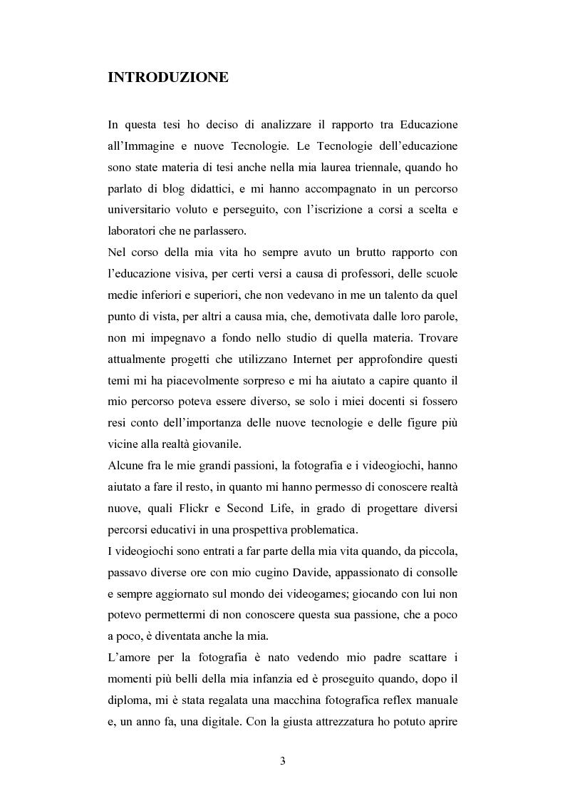 Anteprima della tesi: Nuove tecnologie e immagine: educare nell'era digitale tra You Tube e Second Life, Pagina 1