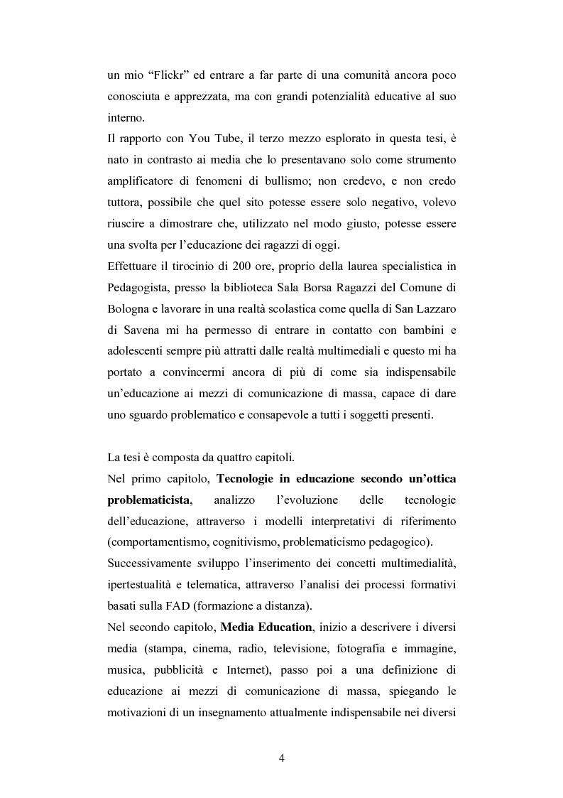Anteprima della tesi: Nuove tecnologie e immagine: educare nell'era digitale tra You Tube e Second Life, Pagina 2