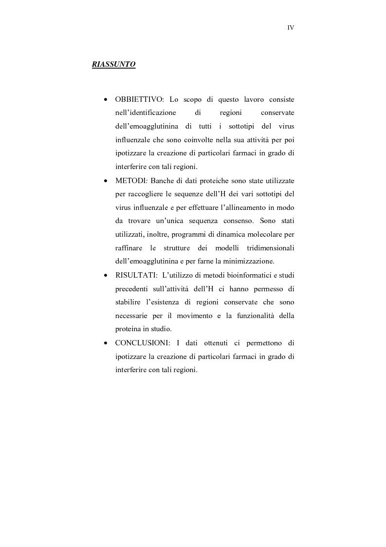 Anteprima della tesi: Studi bioinformatici per la individuazione di regioni di interesse farmacologico della emoagglutinina influenzale, Pagina 1