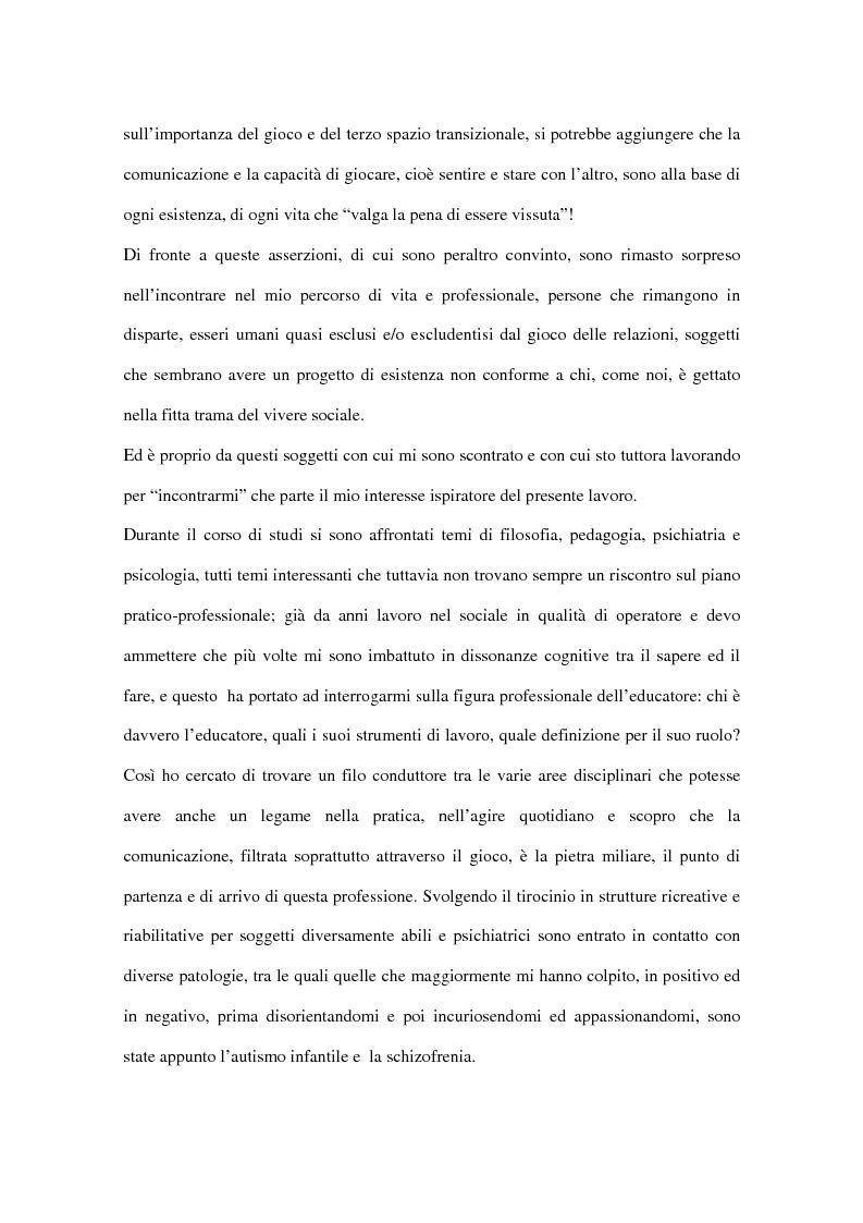Anteprima della tesi: Comunicare nell'incomunicabilità: il ruolo dell'educatore nell'autismo e nella schizofrenia attraverso il gioco e l'ascolto attivo, Pagina 2