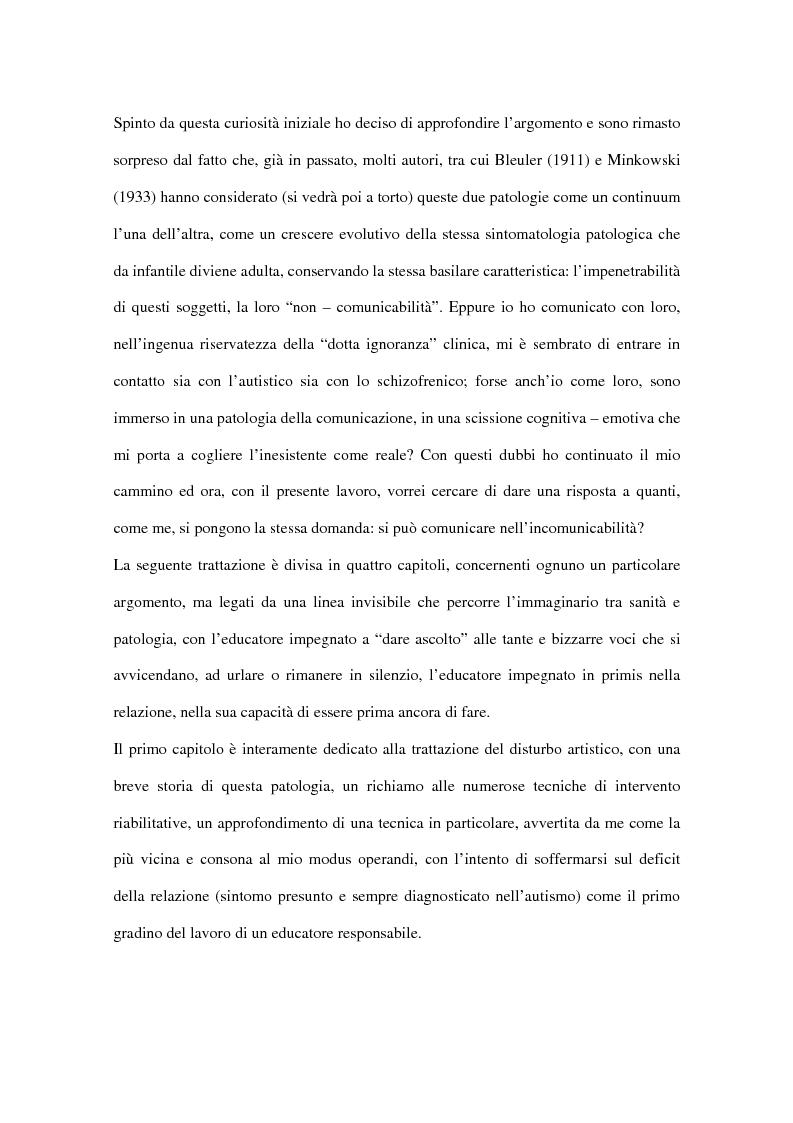 Anteprima della tesi: Comunicare nell'incomunicabilità: il ruolo dell'educatore nell'autismo e nella schizofrenia attraverso il gioco e l'ascolto attivo, Pagina 3