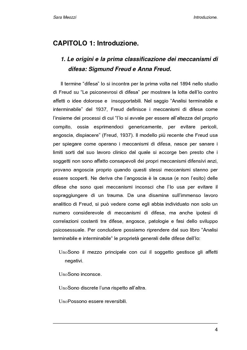 Anteprima della tesi: Meccanismi di difesa e strategie di coping, Pagina 1