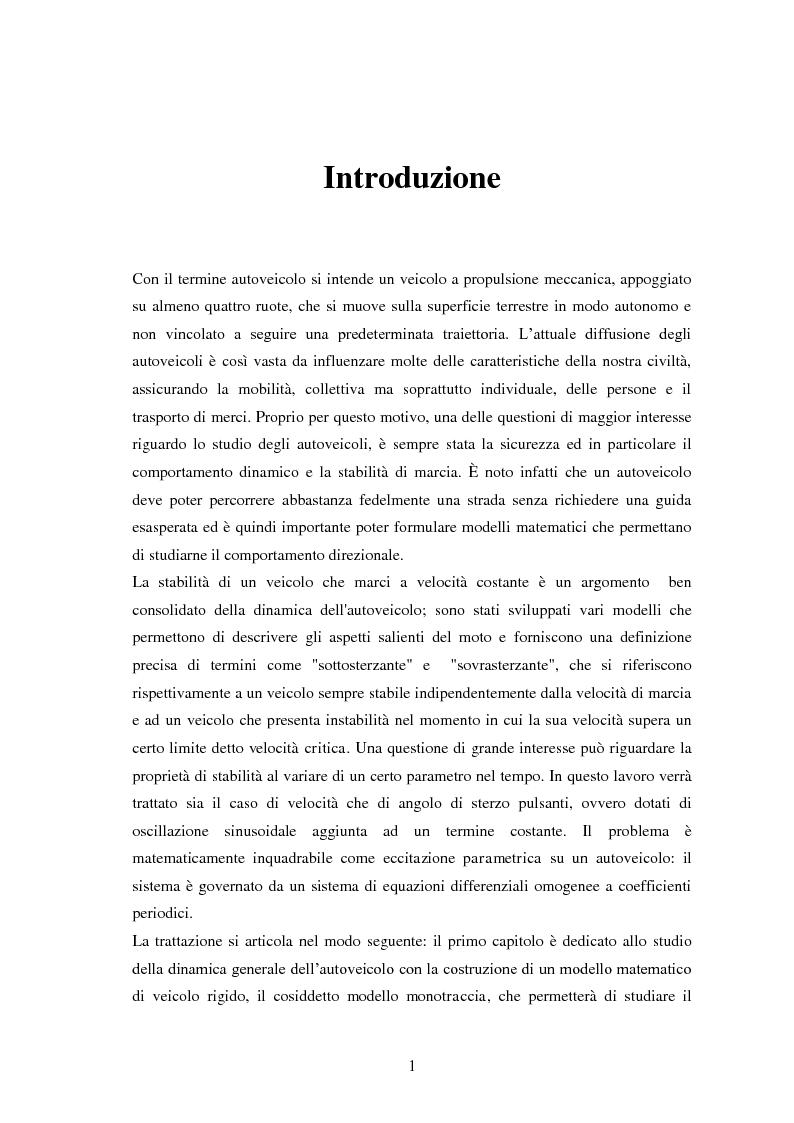 Anteprima della tesi: Studio teorico numerico del comportamento dinamico e delle proprietà di stabilità di un autoveicolo a quattro ruote, Pagina 1
