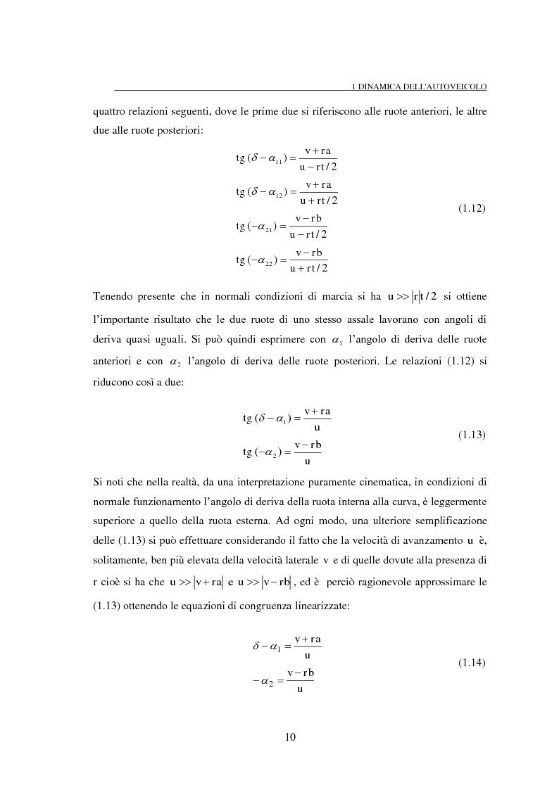 Anteprima della tesi: Studio teorico numerico del comportamento dinamico e delle proprietà di stabilità di un autoveicolo a quattro ruote, Pagina 10
