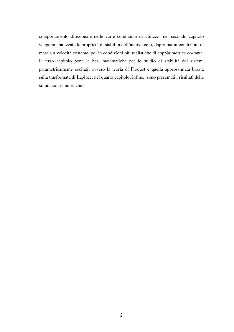 Anteprima della tesi: Studio teorico numerico del comportamento dinamico e delle proprietà di stabilità di un autoveicolo a quattro ruote, Pagina 2