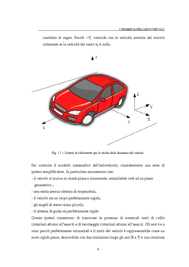 Anteprima della tesi: Studio teorico numerico del comportamento dinamico e delle proprietà di stabilità di un autoveicolo a quattro ruote, Pagina 4