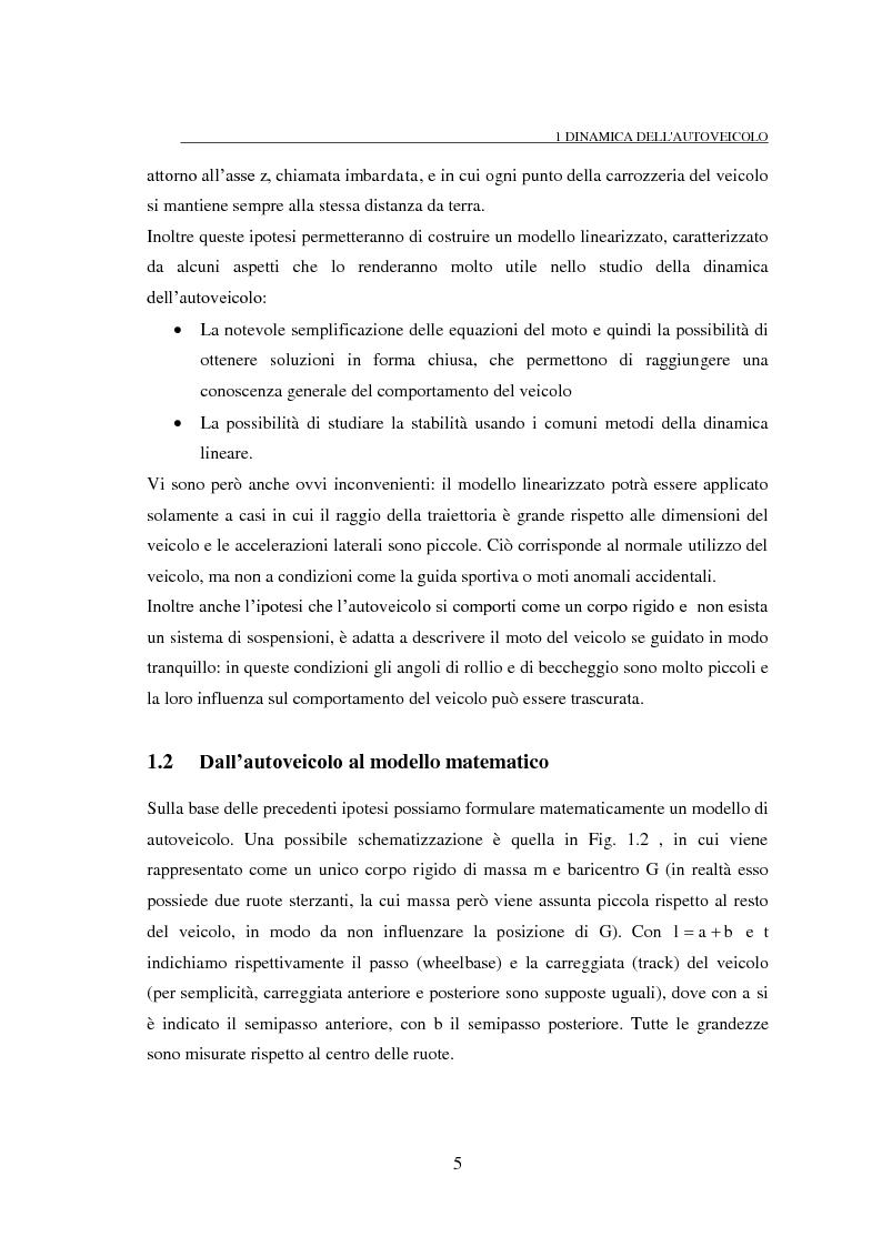 Anteprima della tesi: Studio teorico numerico del comportamento dinamico e delle proprietà di stabilità di un autoveicolo a quattro ruote, Pagina 5
