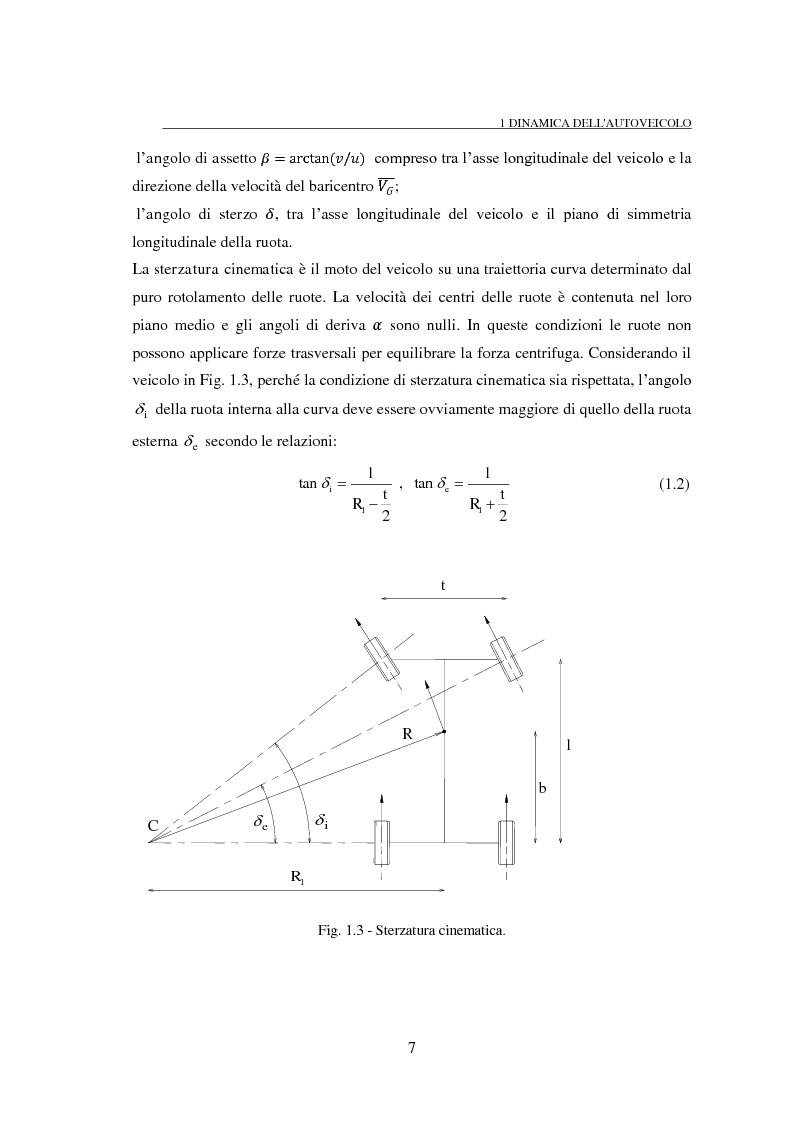 Anteprima della tesi: Studio teorico numerico del comportamento dinamico e delle proprietà di stabilità di un autoveicolo a quattro ruote, Pagina 7