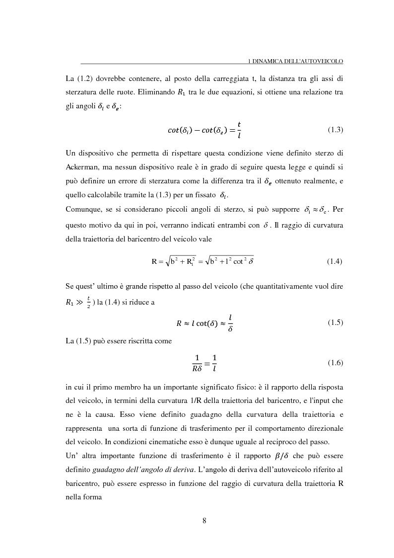 Anteprima della tesi: Studio teorico numerico del comportamento dinamico e delle proprietà di stabilità di un autoveicolo a quattro ruote, Pagina 8