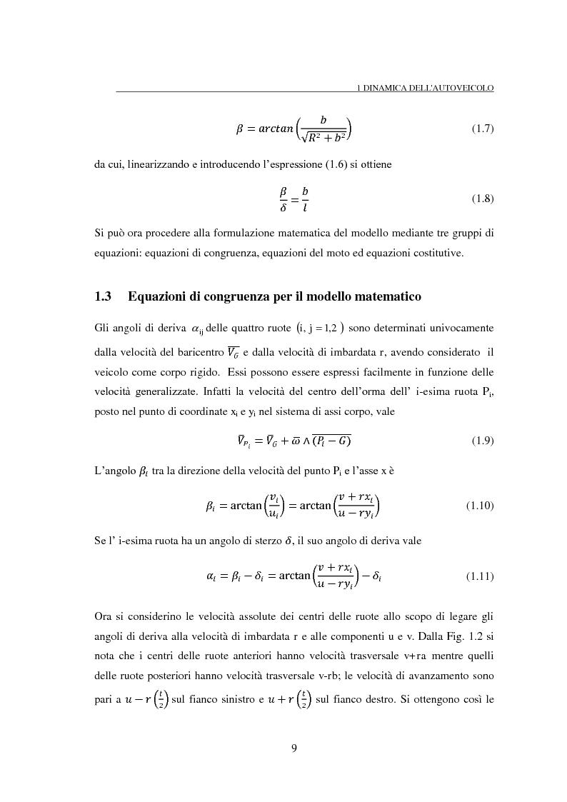 Anteprima della tesi: Studio teorico numerico del comportamento dinamico e delle proprietà di stabilità di un autoveicolo a quattro ruote, Pagina 9