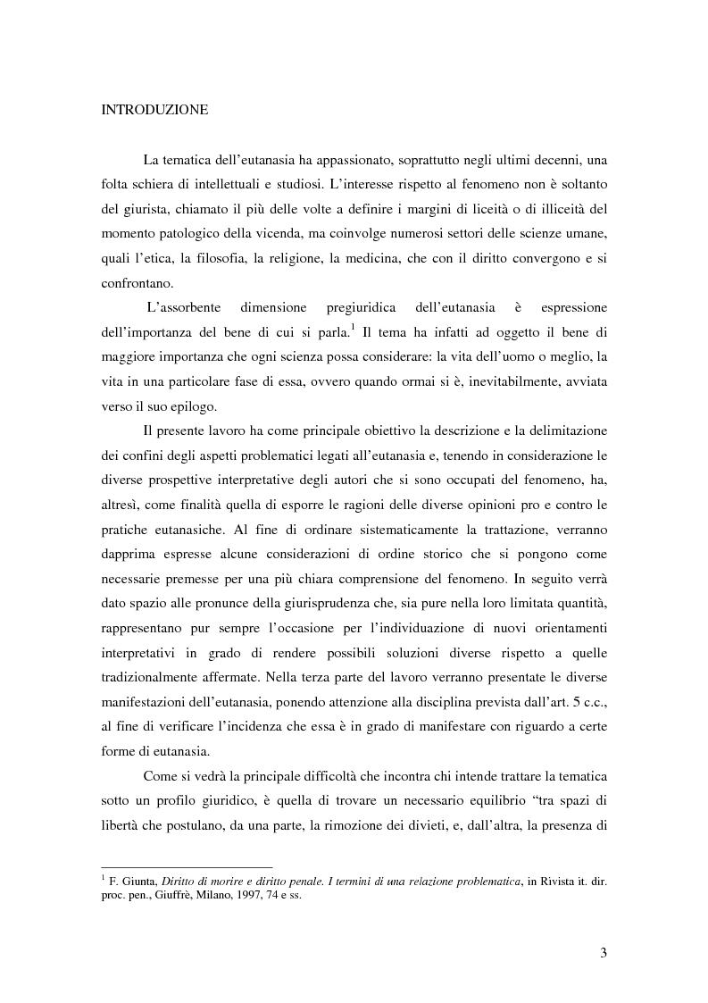 Anteprima della tesi: Riflessioni filosofico-giuridiche sul fenomeno eutanasico in Italia, Pagina 1