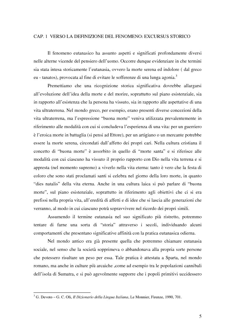 Anteprima della tesi: Riflessioni filosofico-giuridiche sul fenomeno eutanasico in Italia, Pagina 3