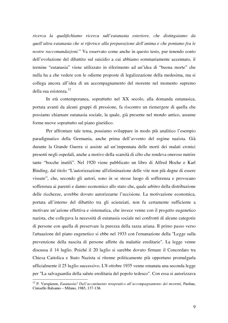 Anteprima della tesi: Riflessioni filosofico-giuridiche sul fenomeno eutanasico in Italia, Pagina 7