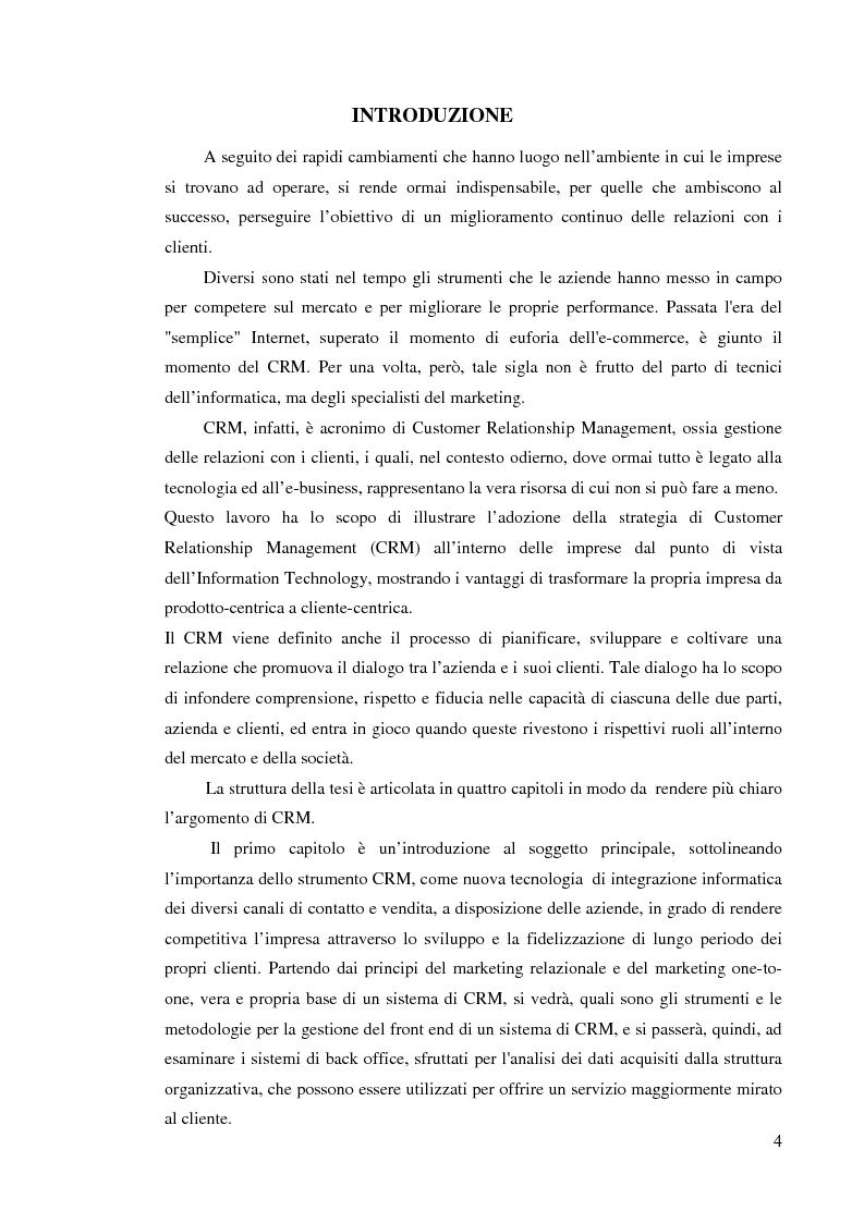 Anteprima della tesi: Customer Relationship Management - L'applicazione di un sistema CRM in un'azienda informatica, Pagina 1