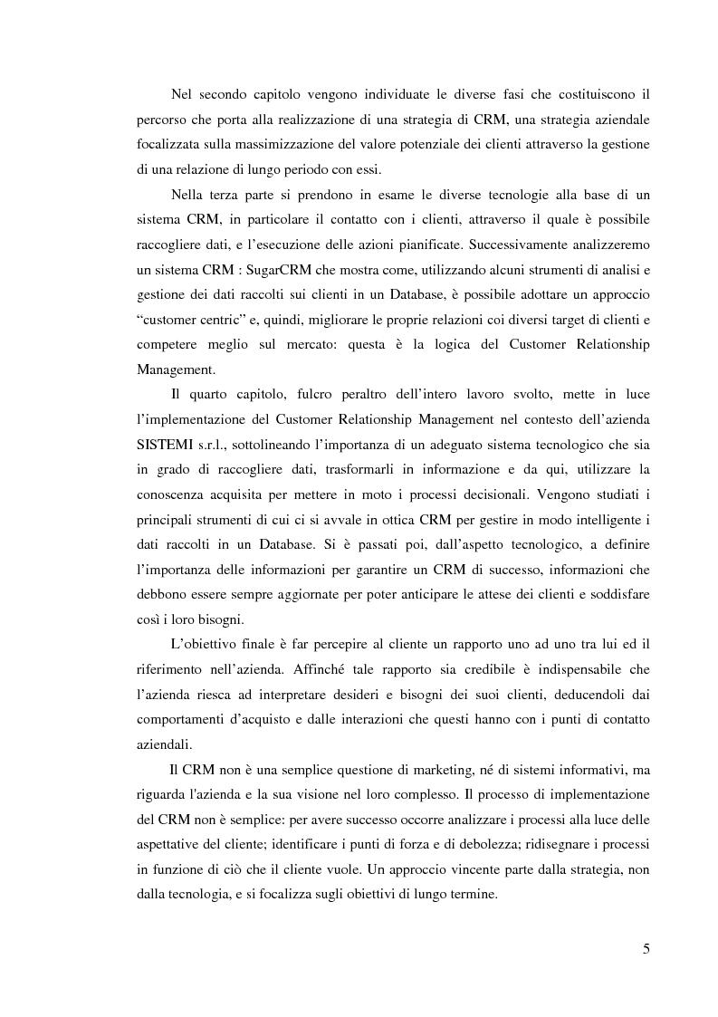 Anteprima della tesi: Customer Relationship Management - L'applicazione di un sistema CRM in un'azienda informatica, Pagina 2