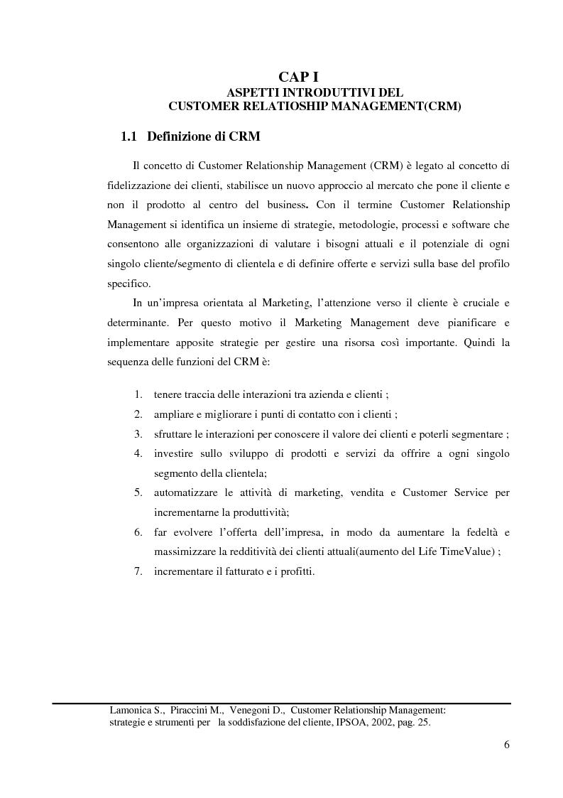 Anteprima della tesi: Customer Relationship Management - L'applicazione di un sistema CRM in un'azienda informatica, Pagina 3